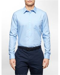 Calvin Klein | Blue White Label Classic Fit Textured Cotton Shirt for Men | Lyst