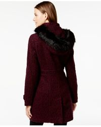 Ivanka Trump - Purple Faux-fur-trim Buckled Bouclé Coat - Lyst