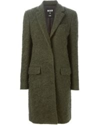 MSGM - Green Classic Single Breasted Coat - Lyst