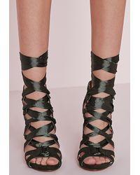 dfe2f6b861c Missguided Fabric Lace Up Geometric Heeled Sandal Khaki in Natural ...