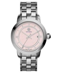 Tory Burch | Metallic 'tory' Large Round Bracelet Watch | Lyst