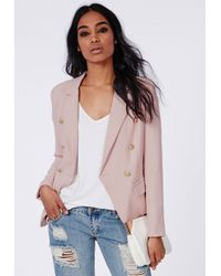 Missguided - Woven Gold Button Tailored Blazer Pink - Lyst