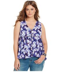 Jessica Simpson | Blue Plus Size Floral-print Swing Top | Lyst