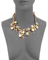 Oscar de la Renta | Metallic Swarovski Crystal Faux Pearl Coral Branch Necklace | Lyst