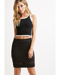 Forever 21 - Black Mesh-paneled Pencil Skirt - Lyst
