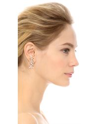 Joanna Laura Constantine | Metallic Imitation Pearl Leaf Earrings - Clear/pearl/gold | Lyst