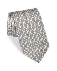 Ferragamo - Gray Dog Print Silk Tie for Men - Lyst