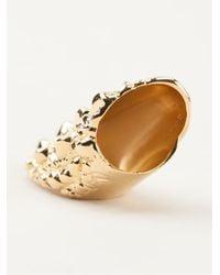 Givenchy | Metallic Crocodile Effect Brass Ring | Lyst