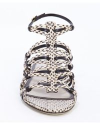 Jason Wu - Black And White Spotted Snake Embossed Leather Strappy Sandals - Lyst