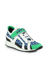 Pierre Hardy | Green Cube Printed Lace-Up Sneakers for Men | Lyst