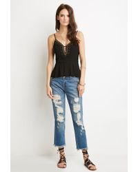 Forever 21 - Black Embellished Cutout Peplum Cami - Lyst