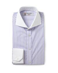 Turnbull & Asser | Blue Purple Slim-Fit Contrast-Collar Cotton Shirt for Men | Lyst