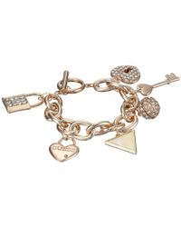 Guess | Metallic Lock, Key, Hearts Charm Bracelet | Lyst
