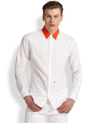 DSquared² - White Contrast Collar Sportshirt for Men - Lyst