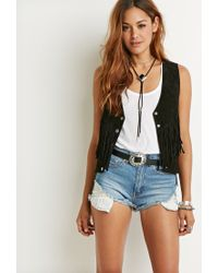 Forever 21 - Black Genuine Suede Fringed Vest - Lyst