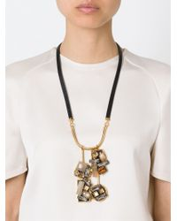 Marni - Black Crystal Pendant Necklace - Lyst
