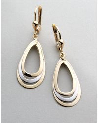 Lord & Taylor | Metallic 14k Two Tone Drop Earrings | Lyst