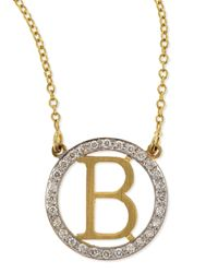 Kacey K | Metallic Small Round Initial Pendant Necklace With Diamonds | Lyst