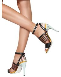 Fendi - Blue 105mm Leather Cage Sandals - Lyst