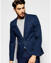 Noak | Cotton Blazer In Super Skinny Fit - Blue for Men | Lyst