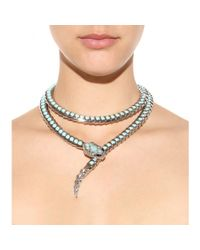 Roberto Cavalli - Blue Embellished Snake Necklace - Lyst