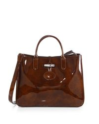Longchamp - Brown Roseau Medium Patentleather Box Tote - Lyst