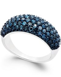 Macy's - Metallic Blue Diamond Ring In Sterling Silver (1 Ct. T.w.) - Lyst
