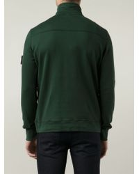 Stone Island - Green Buttoned Neck Sweater for Men - Lyst