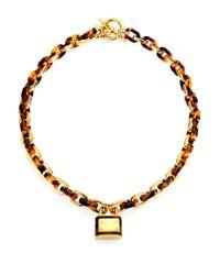Michael Kors - Metallic Tortoise Link Padlock Charm Necklace - Lyst