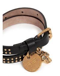 Alexander McQueen - Black Skull Charm Double Wrap Stud Leather Bracelet - Lyst