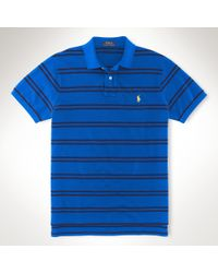 Polo Ralph Lauren | Blue Custom-fit Striped Mesh Polo for Men | Lyst