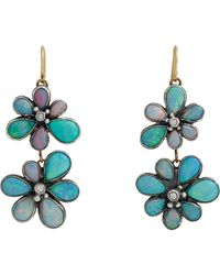 Judy Geib | Blue Opal & Diamond Wildflower Double-drop Earrings | Lyst