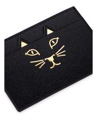 Charlotte Olympia - Black 'feline' Cat Face Leather Card Holder - Lyst
