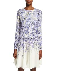 Giambattista Valli - Purple Allover Floral-print Silk-cashmere Cardigan - Lyst