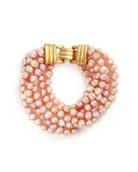 Kenneth Jay Lane - Pink Multi Strand Baroque Pearl Bracelet - Lyst