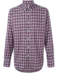 Canali - Gray Checked Shirt for Men - Lyst