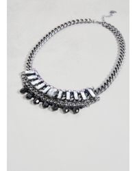 Violeta by Mango | Metallic Rhinestone Chain Necklace | Lyst