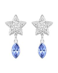 Swarovski - Blue Duo Star Pierced Earrings - Lyst