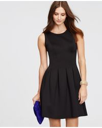 Ann Taylor | Black Pleated Flare Dress | Lyst