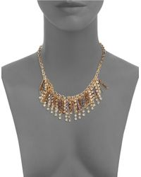 Cara | Metallic Beaded Mesh Chain Necklace | Lyst