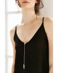 Urban Outfitters - Metallic Crystal Rosary Pendant Necklace - Lyst