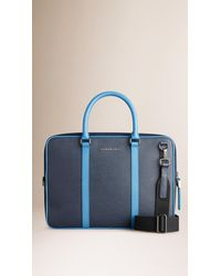 d644defe972f Burberry Colour Block London Leather Crossbody Briefcase in Blue for ...