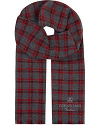 Corneliani - Red Plaid Cashmere Scarf for Men - Lyst