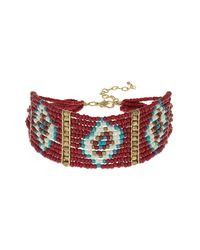 TOPSHOP - Red Beaded Choker - Lyst