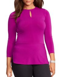 Lauren by Ralph Lauren | Purple Keyhole Stretch-Velvet Top | Lyst