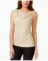 Laundry by Shelli Segal - Gold-metallic Knit Drape-neck Top - Lyst