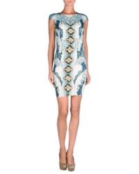 Just Cavalli - Blue Wave Print Stretch Jersey Dress - Lyst
