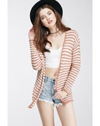 Forever 21 | Brown Striped Knit Cardigan | Lyst
