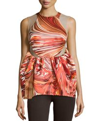 Stella McCartney - Red Sleeveless Printed Silk Illusion Top - Lyst