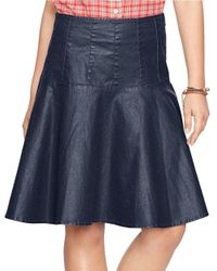Lauren by Ralph Lauren - Blue Coated Denim Skirt - Lyst